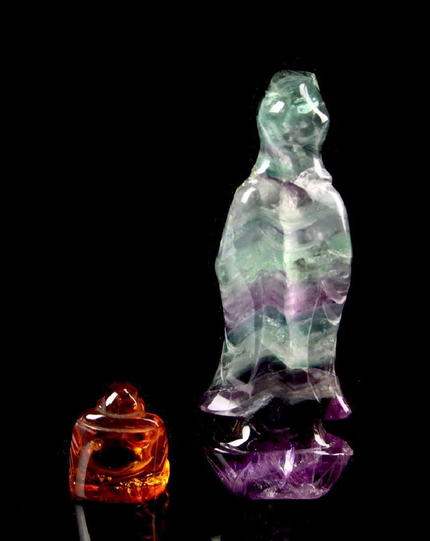 Chinese Quartz and Amber Buddha - 3