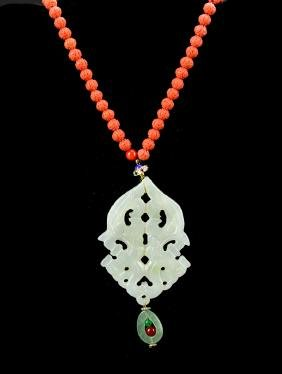 Chinese Coral Necklace with Jade Pendent