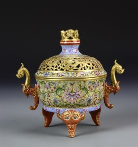 Chinese Famille Rose Tripod Censer with Cover