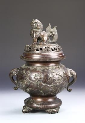 Japanese Meiji Period Bronze Censer