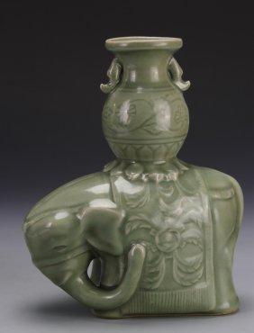 Chinese Celadon Elephant Vase