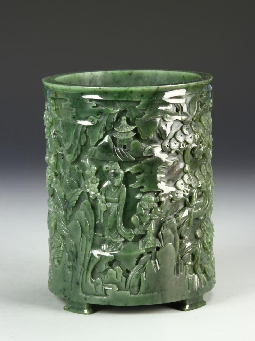 Chinese Spinach Jade Brush Pot