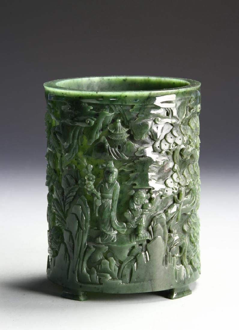 Chinese Spinach Jade Brush Pot - 5