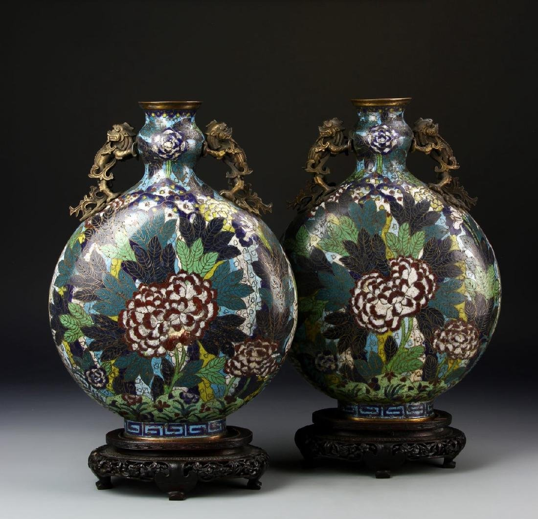 Pair of Chinese Cloisonne Moon Flasks