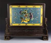 Chinese Cloisonne Table Screen With Wood Stand