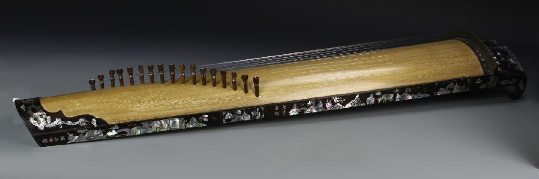 Asian Wood Musical Instrument with Box