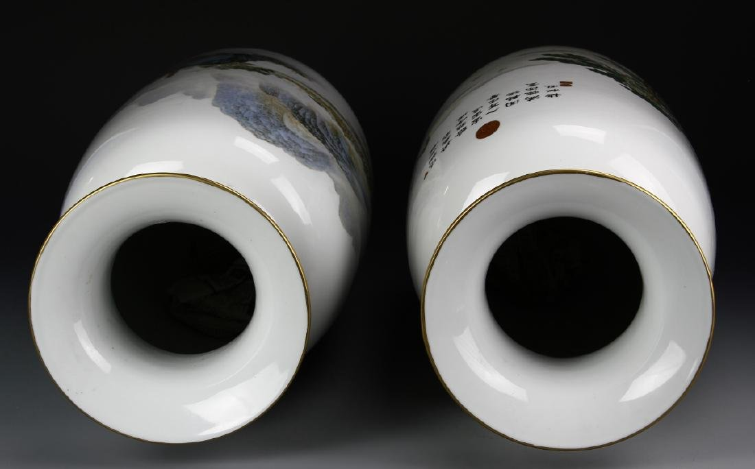 Pair of Chinese Famille Rose Vases - 7