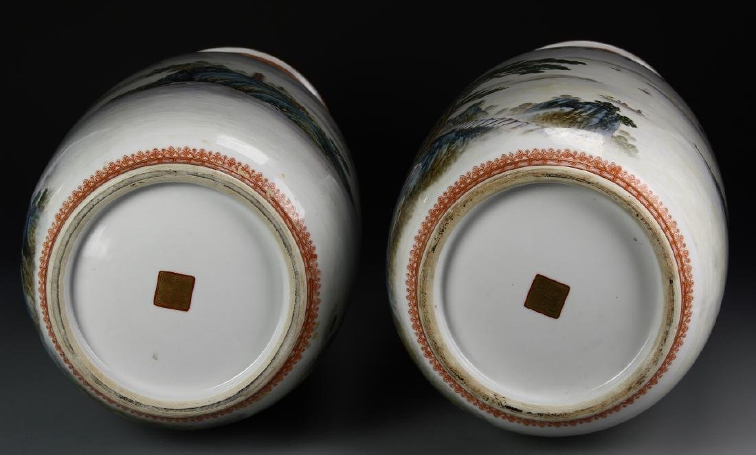 Pair of Chinese Famille Rose Vases - 8