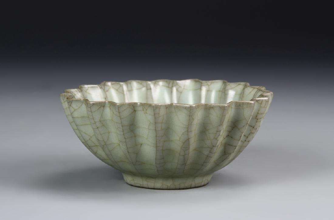 Chinese Guan Yao Celadon Petal-Lobed Bowl