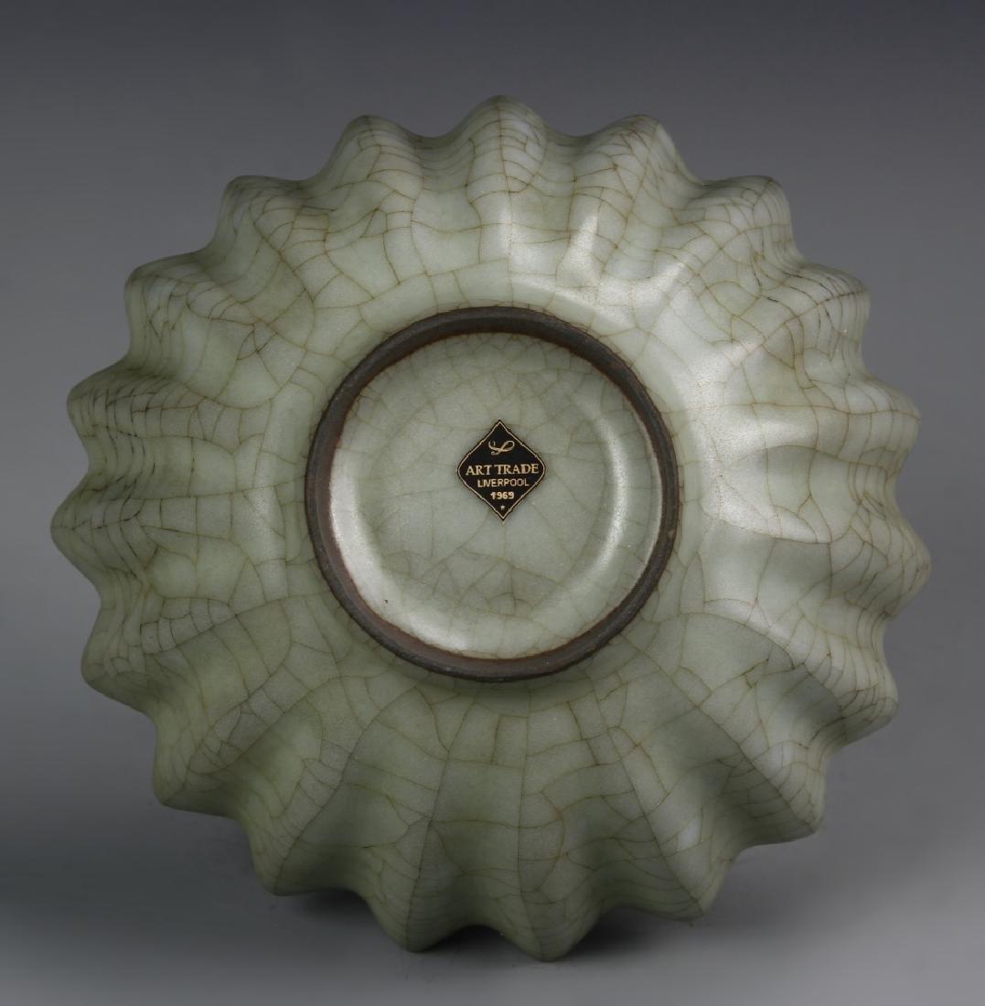 Chinese Guan Yao Celadon Petal-Lobed Bowl - 4