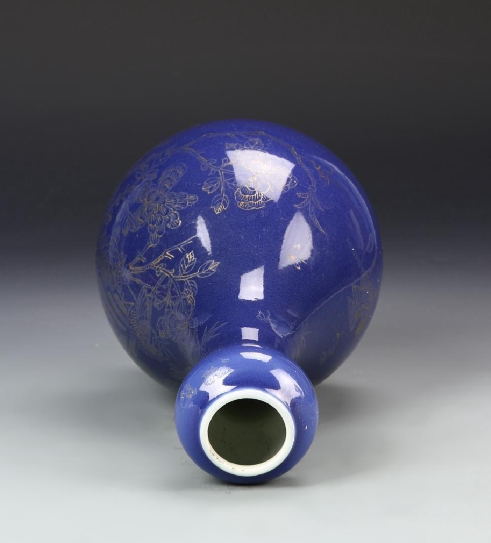 Chinese Blue Garlic Head Vase - 5