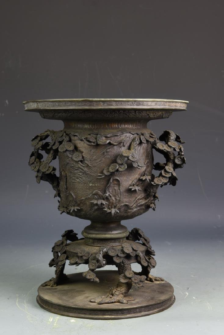 Japanese Bronze Floral Pot