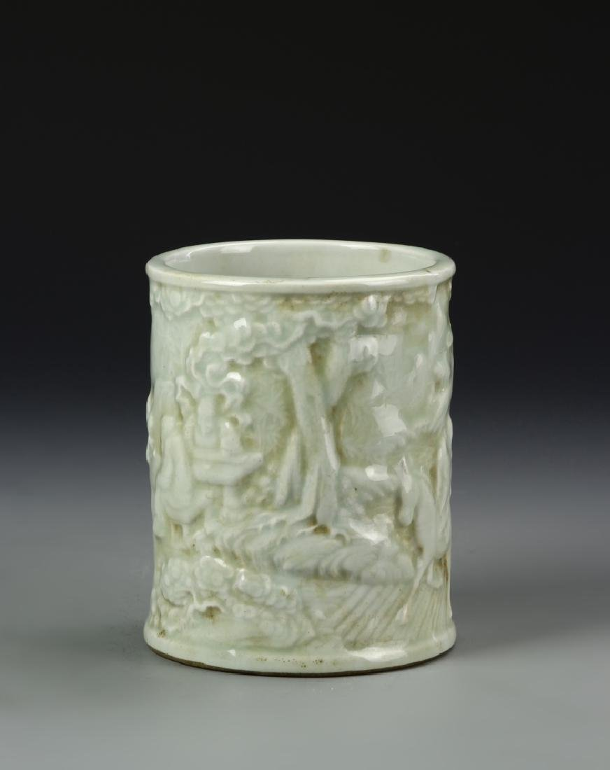 Chinese Celadon Glazed Brush Pot - 2