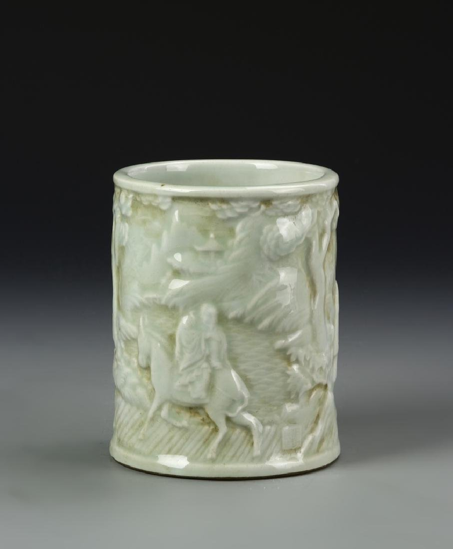 Chinese Celadon Glazed Brush Pot - 3