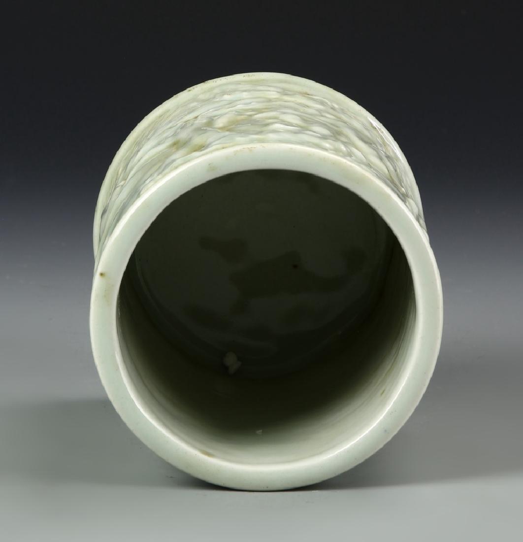Chinese Celadon Glazed Brush Pot - 4