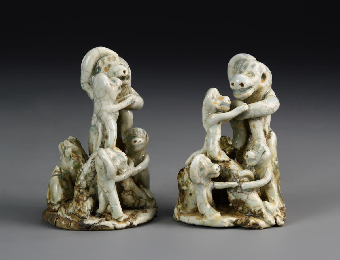 Pair Of Chinese Ying Qing Glazed Animal Figures