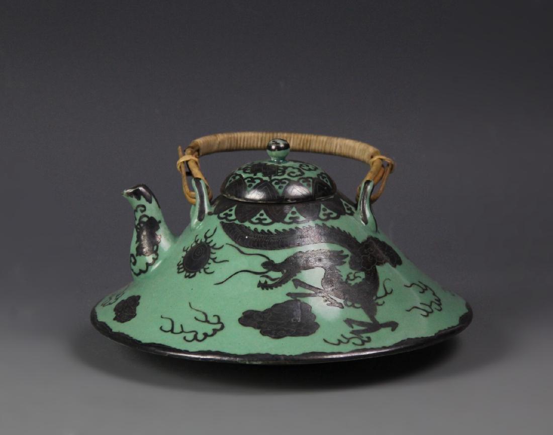 Japanese Green Glazed Dragon Teapot