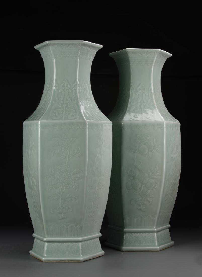 Pair Of Chinese Tall Glazed Celadon Vases