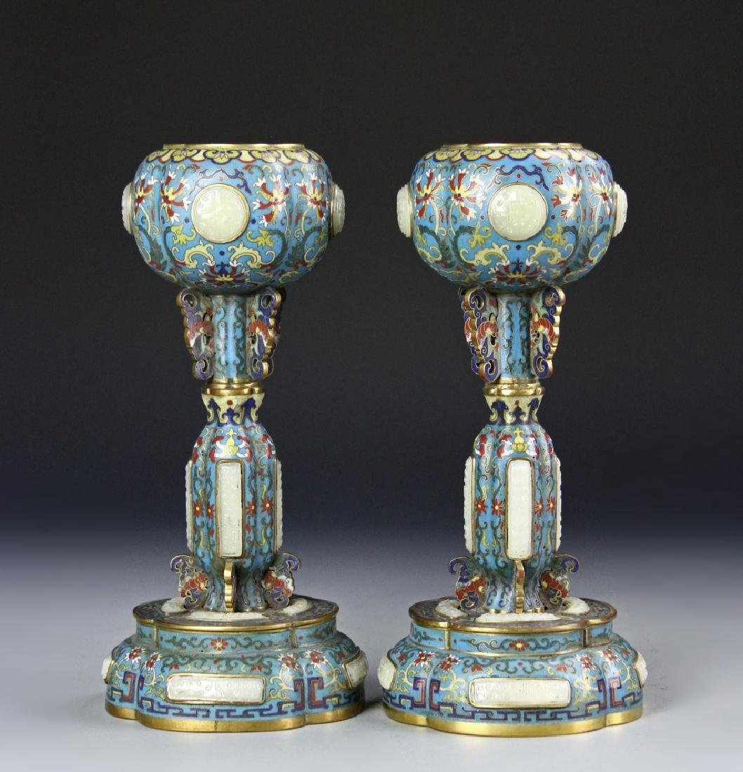 Pair of Chinese Qianlong Period Cloisonne Hat Stan