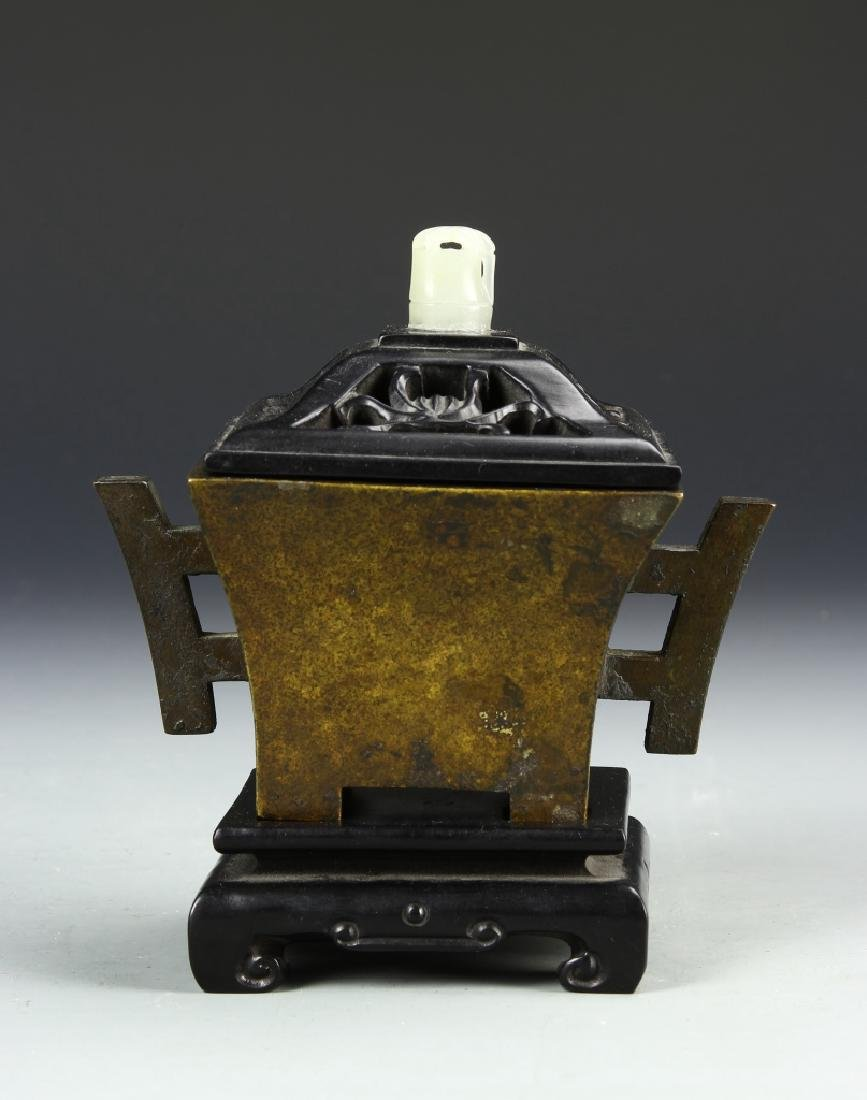 Chinese Bronze Censor with Lid and Base