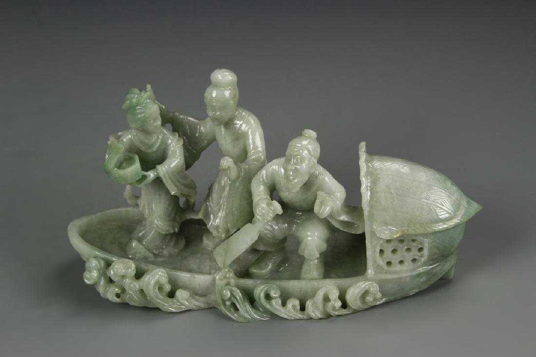 Chinese Jadeite Carving of Fishermen on Boat