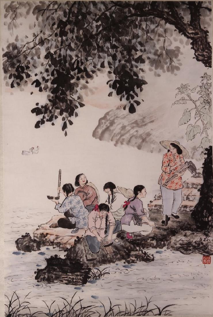 Chinese Hanging Scroll, Washing by the River