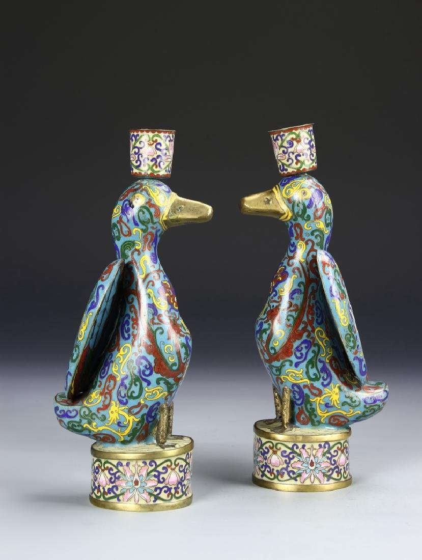 Pair of Chinese Cloisonne Candle Sticks