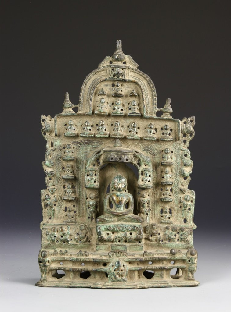 Indian Bronze Jain with Silver Inlays