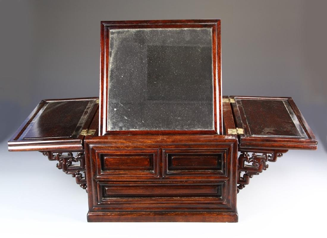 Chinese Hardwood Jewelry Box and Makeup Box