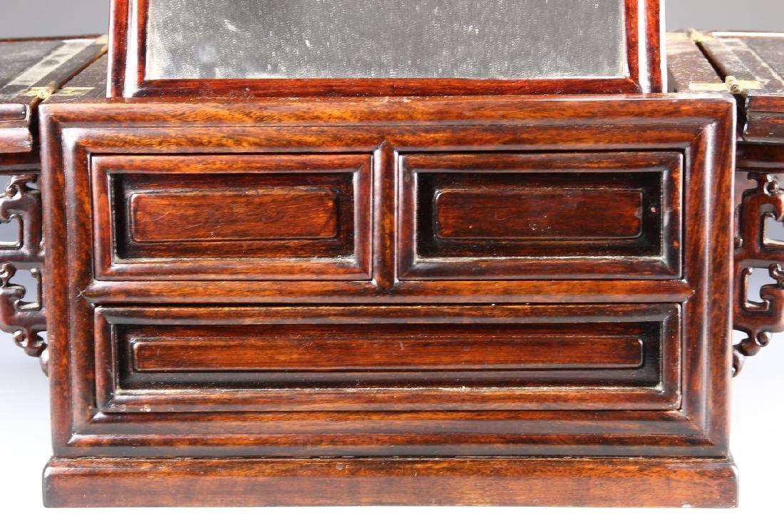 Chinese Hardwood Jewelry Box and Makeup Box - 2