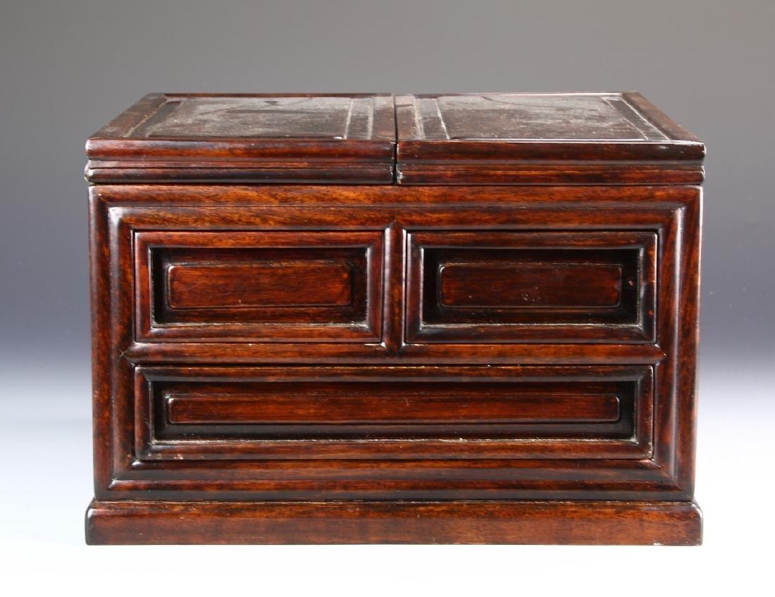 Chinese Hardwood Jewelry Box and Makeup Box - 4
