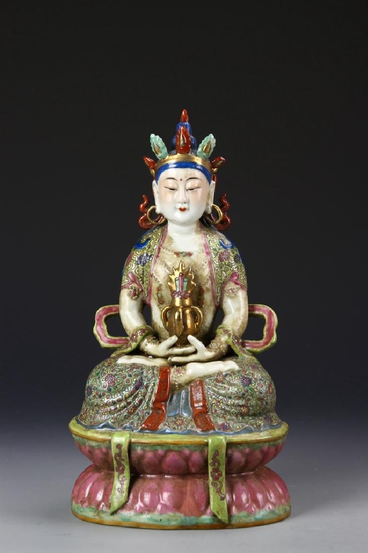 Chinese Famille Rose Buddha Figure