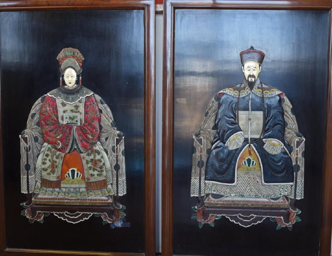 Pair of Chinese Jade and Stone Inlay Portraits