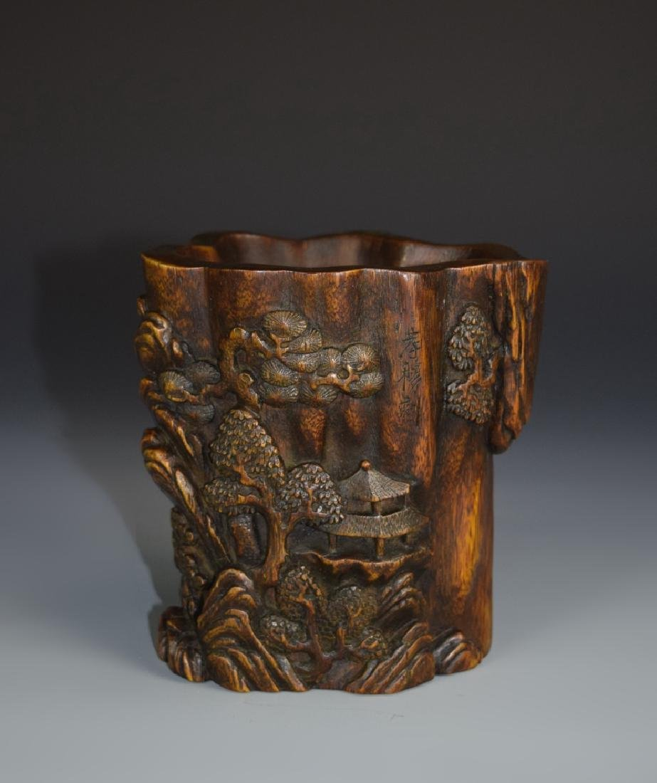 Chinese Chenxiang Wood Brush Pot