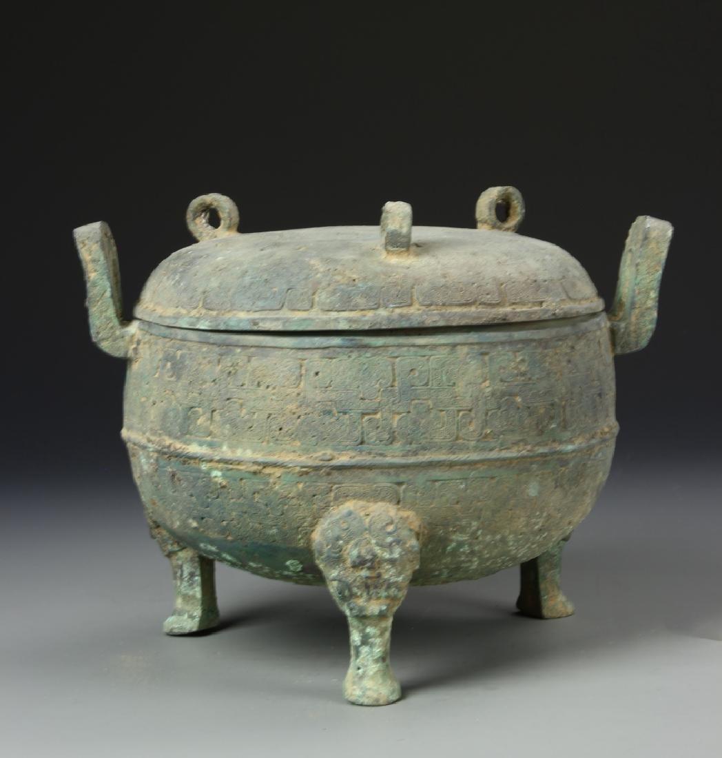 Chinese Antique Bronze Tripod Censer - 3