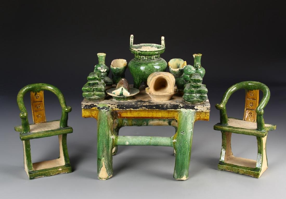 Chinese Green Glazed Table And Chairs