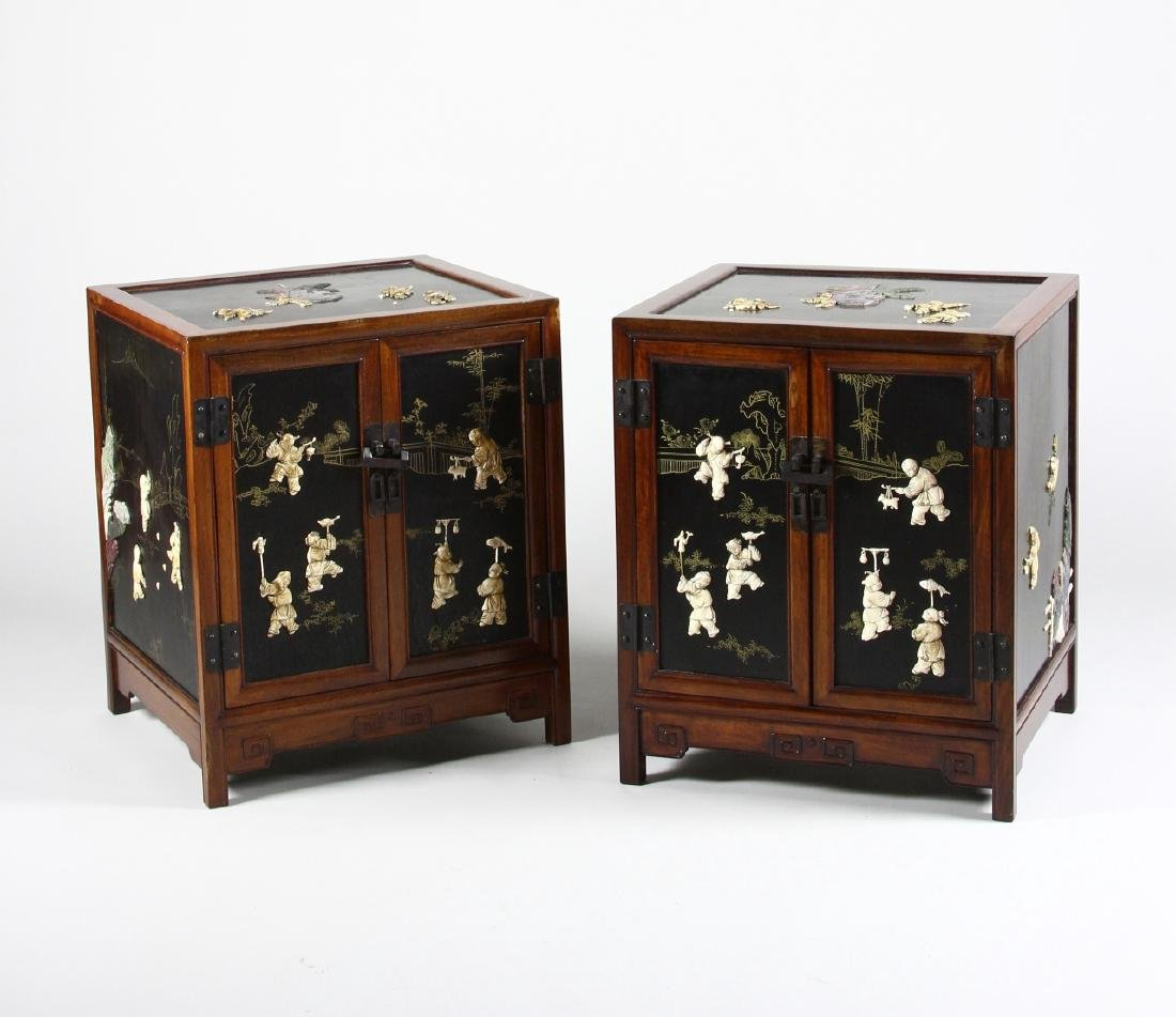 Pair of Chinese Huanghuali Cabinets
