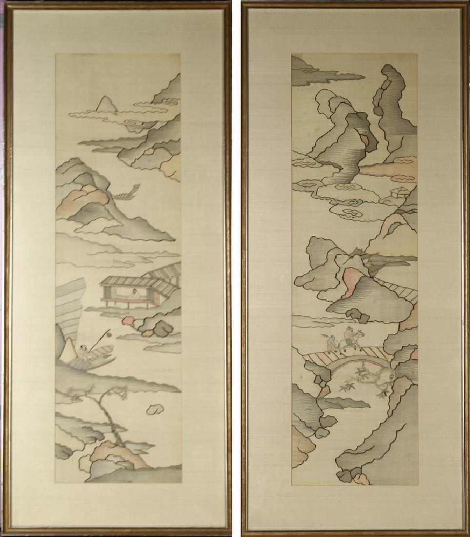 Pair of Chinese Framed Kesi Panels