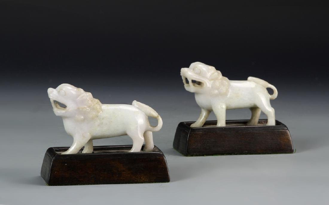 Pair of Chinese Jadeite Foo Lions