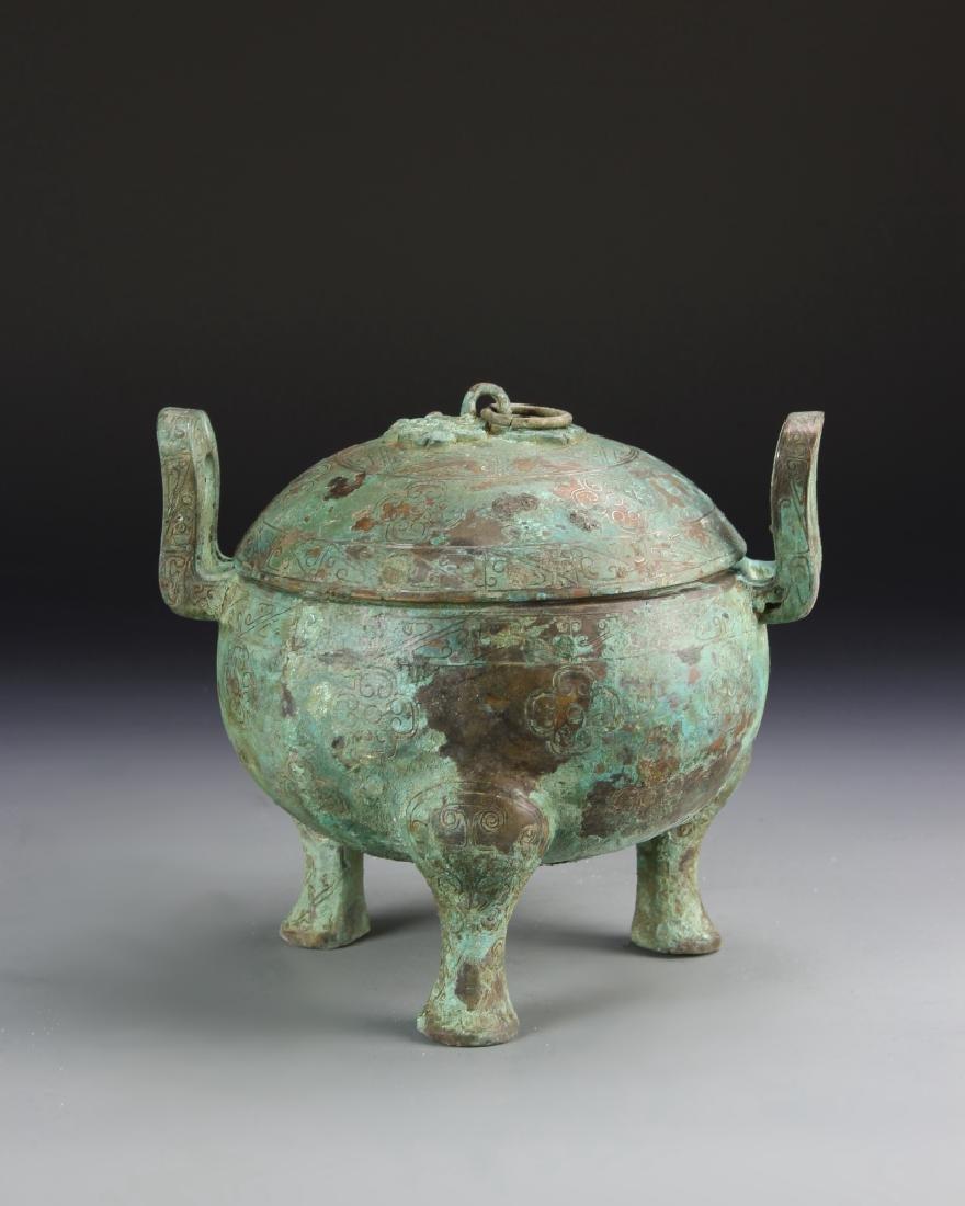 Chinese Bronze Tripod Vessel - 4