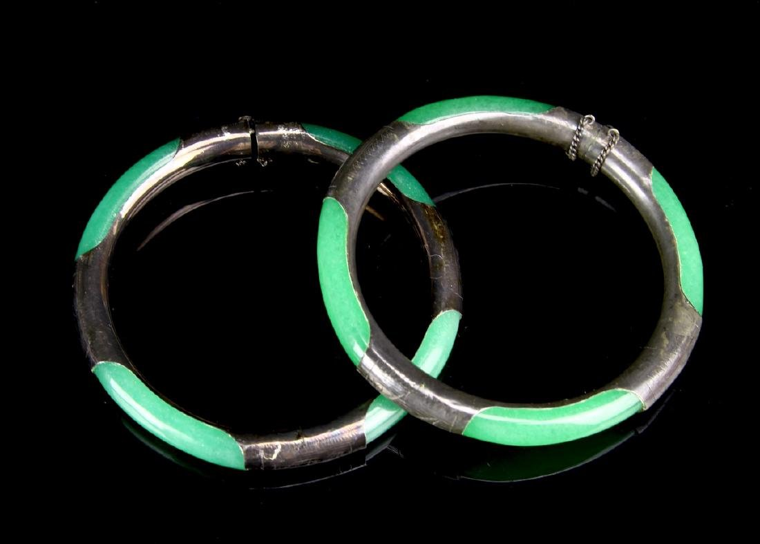 Chinese A Pair Of Jadeite Silver Bangles