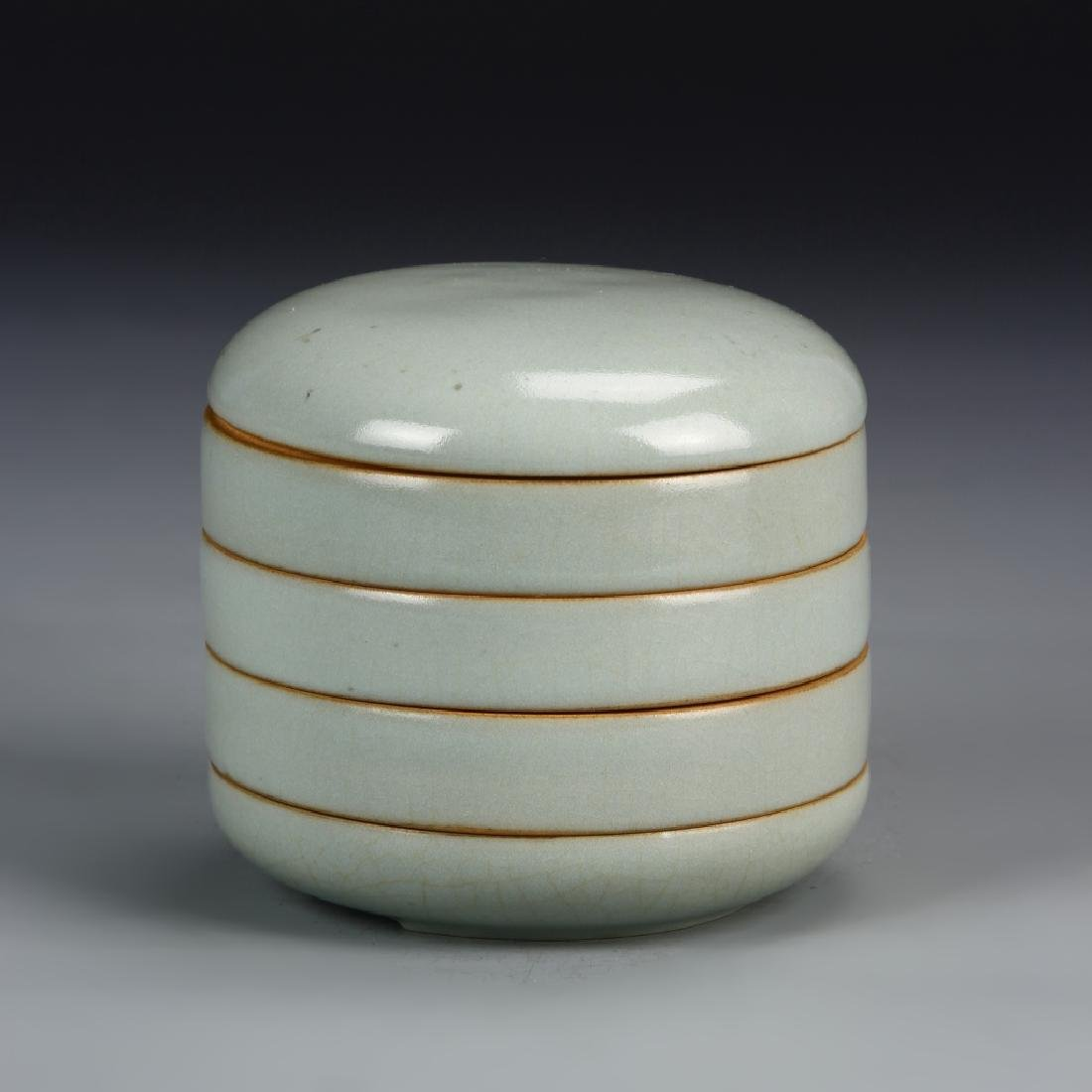 Chinese Antique Ruyao Make-up Stacking Box
