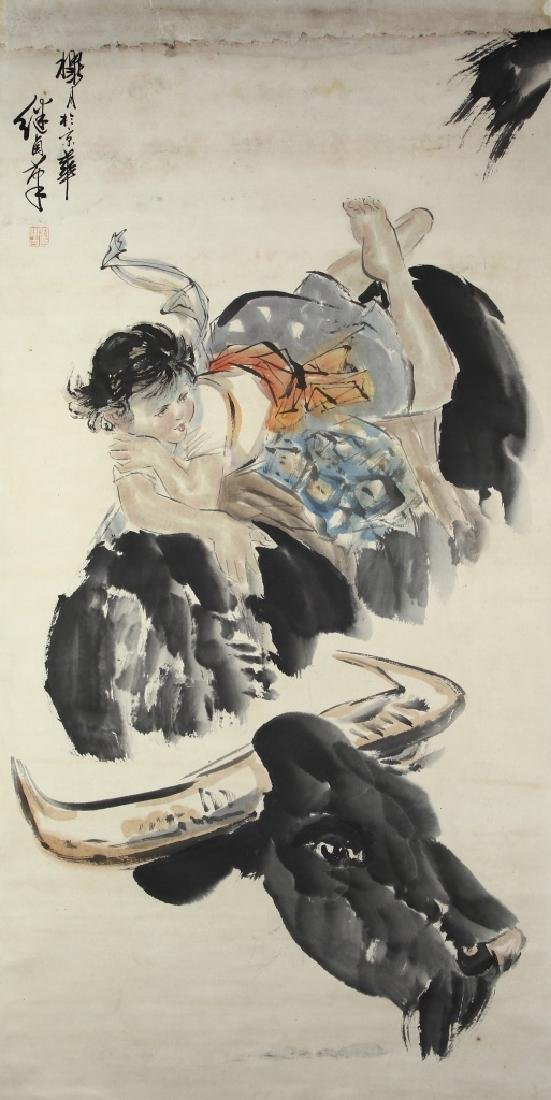 Chinese Scroll Painting of a Girl on a Cow
