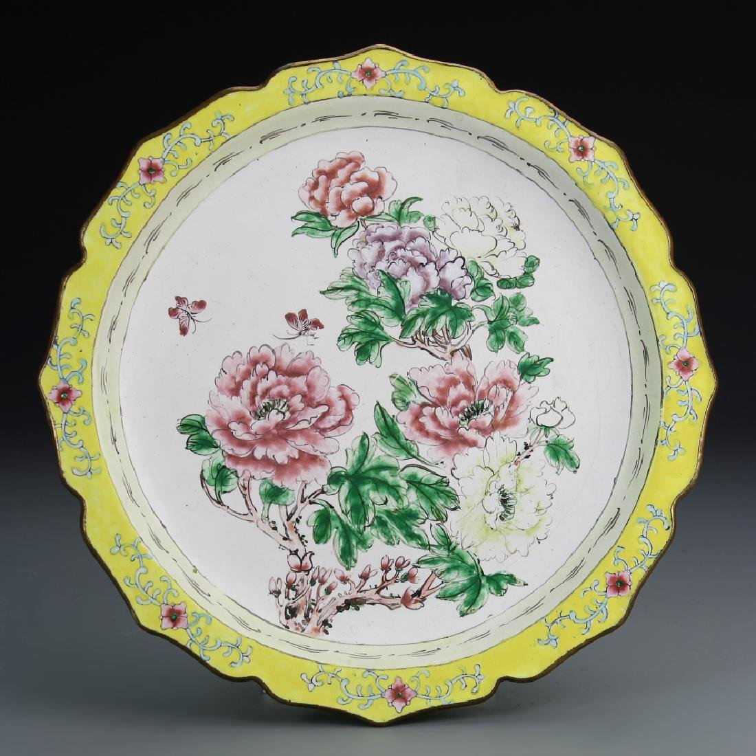 Chinese Enameled Copper Plate