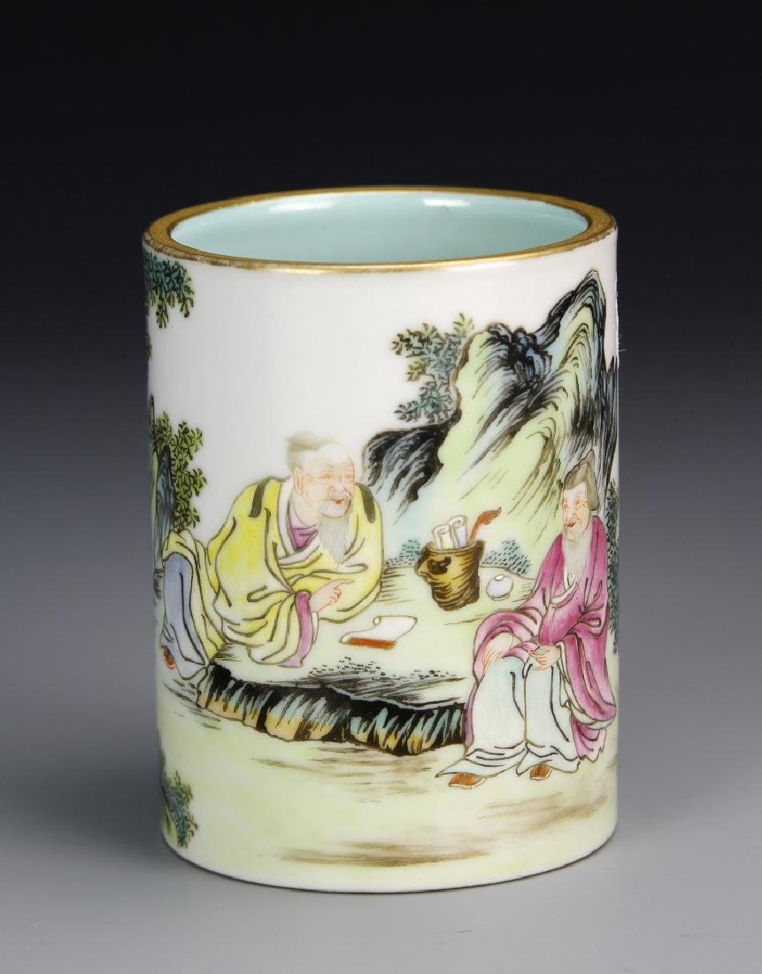 Chinese Famille Rose Brush Pot