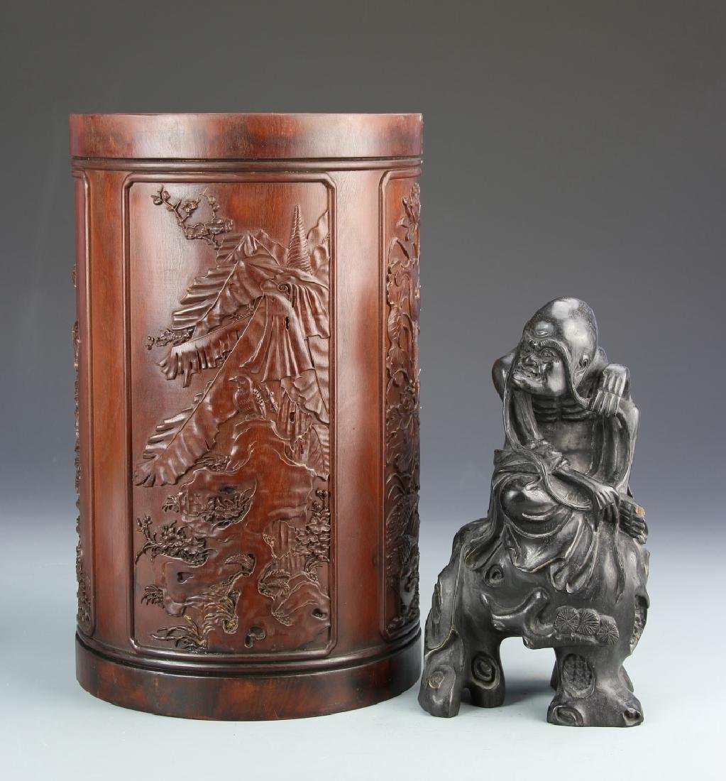 Chinese Wood Brush Pot and Figure