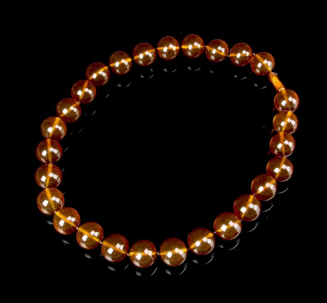 Chinese Amber Beaded Necklace