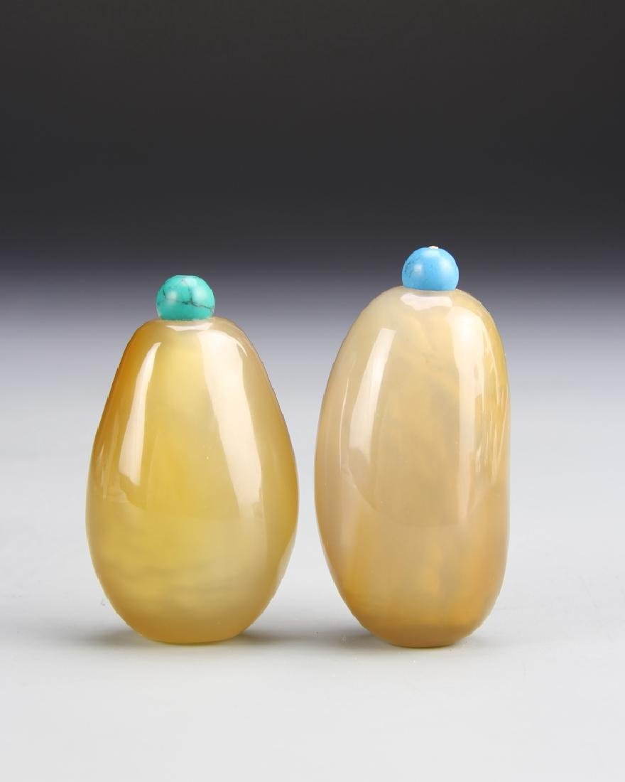 Two Chinese Agate Pebble Snuff Bottles