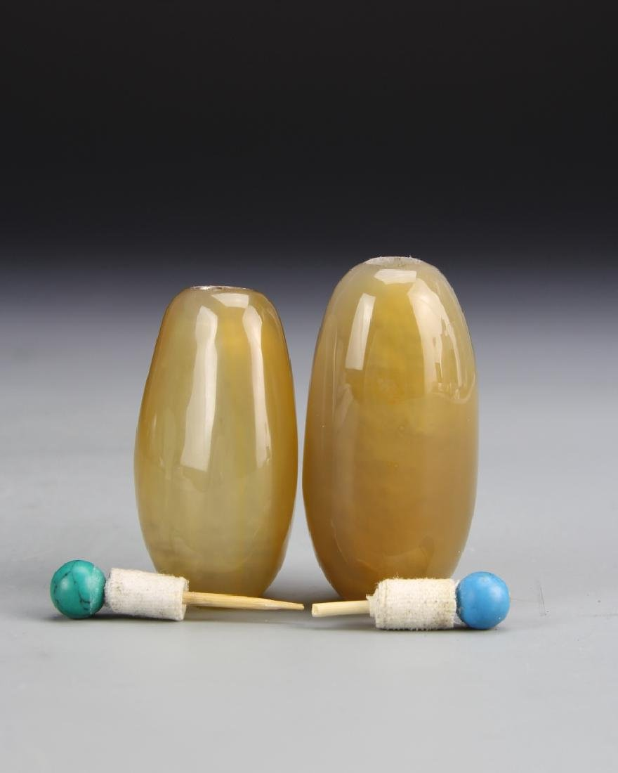 Two Chinese Agate Pebble Snuff Bottles - 3