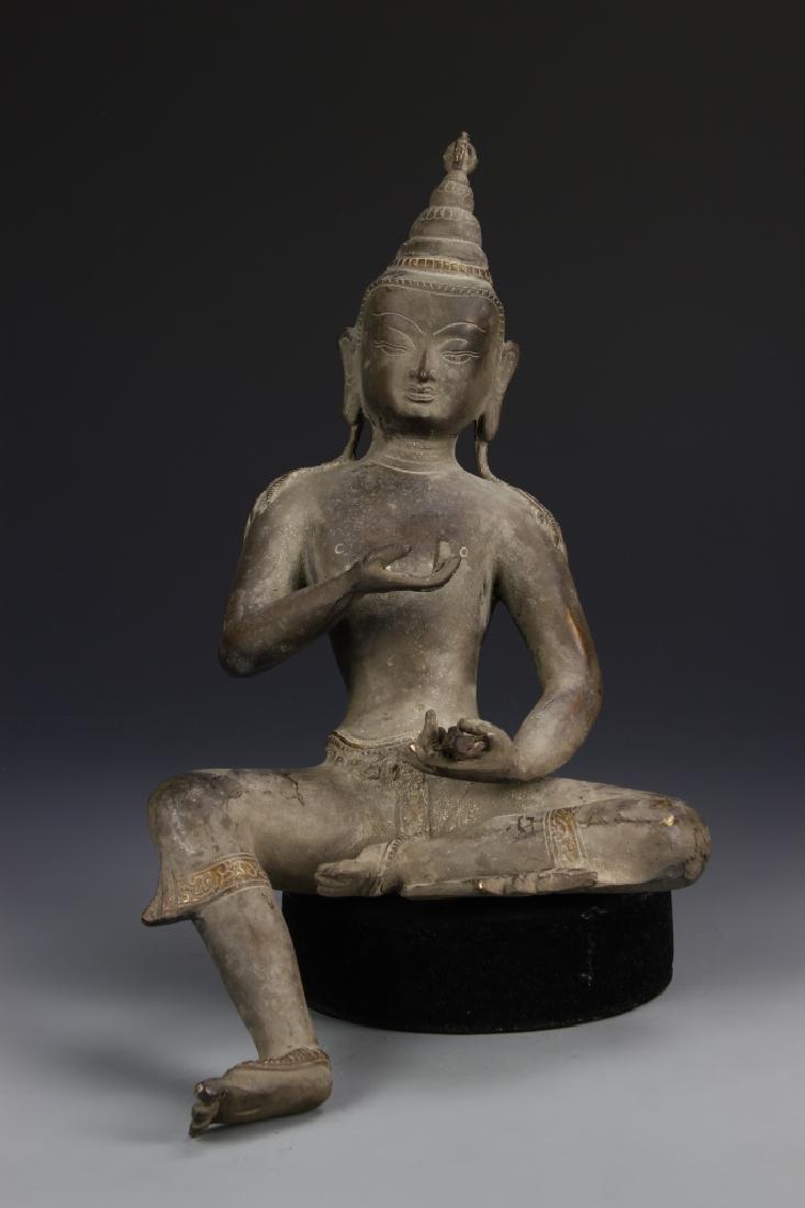 Large Seated Thai Bronze Buddha